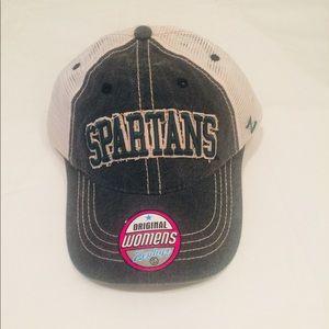 Women's Michigan St. trucker style hat by Zephyr.